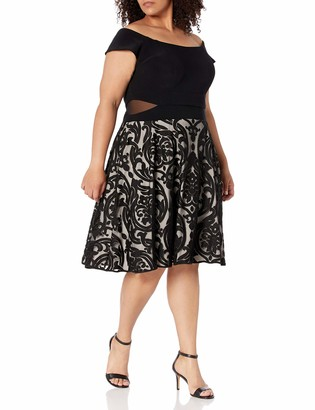 Xscape Evenings Women's Plus Size Short Flocked Party with Off The Shoulder Ity Top