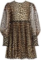 Ganni Leopard-Print Georgette Puff-Sleeve Empire-Waist Mini Dress