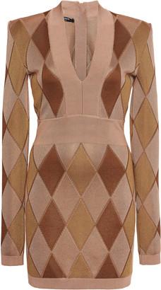 Balmain Argyle Intarsia-Knit Mini Dress