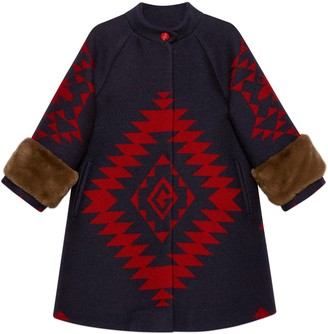 Gucci Children's geometrical bee and G wool coat