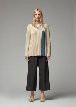 MM6 MAISON MARGIELA Women's V-Neck Sweater in Cream Size Small Cotton/Wool/Acrylic