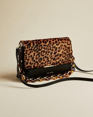 Ted Baker ALANI Faux fur detail leather shoulder bag