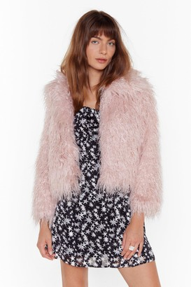 Nasty Gal Womens Fur What It's Worth Shaggy Faux Fur Jacket - Pink - L