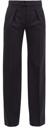 Chloé Pleated Wide-leg Wool-blend Trousers - Navy