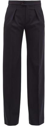 Chloé Pleated Wide-leg Wool-blend Trousers - Womens - Navy