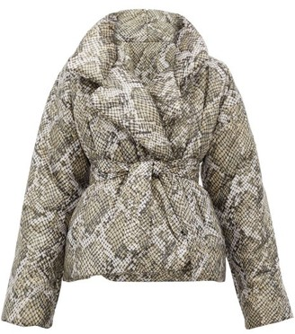 Norma Kamali Sleeping Bag Snakeskin-print Padded Shell Coat - Grey Print
