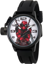 Marvel Mens Deadpool White Dial Black Rubber Strap Watch