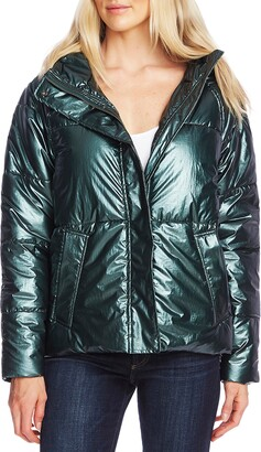 Vince Camuto Metallic Hooded Puffer Jacket