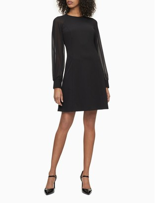 Calvin Klein Chiffon Illusion Sleeve Shift Dress