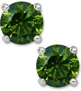 Macy's 14k White Gold Earrings, Treated Green Diamond Stud Earrings (2 ct. t.w.)