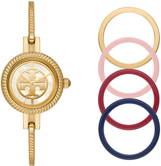 Tory Burch 27mm Reva Bangle Watch Gift Set w/ Top Rings, Gold