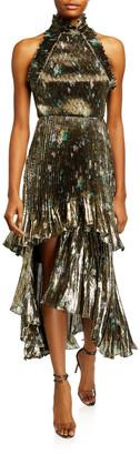 Flor Et. Al Whitney Metallic Floral Pleated Midi Halter Gown