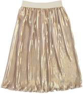 La Stupenderia Metallic Coated Satin Plisse Skirt