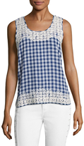Calypso St. Barth Yunes Cotton Plaid Print Top