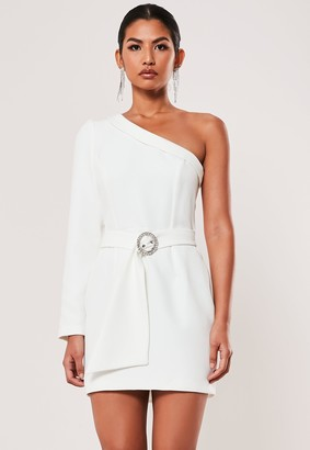 Missguided Ivory Gathered One Shoulder Belted Blazer Dress