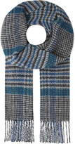 Johnstons Blue Checked Stylish Vintage Check Cashmere And Wool Scarf