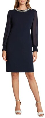 Tahari ASL Petite Stretch Scuba Crepe Sheath with Pearl Necklace Detail (Navy) Women's Dress