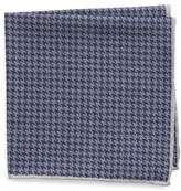 Eleventy Houndstooth Wool & Cotton Pocket Square