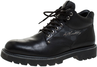 Louis Vuitton Black Leather And Damier Ebene Canvas Oberkampf High Top Boots Size 42