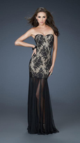 La Femme Strapless Lace Evening Dress 17713