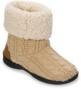 Dearfoams Women's Cable-Knit Memory Foam Bootie Slippers