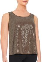 Lafayette 148 New York Sequin Embellished Silk Blend Top