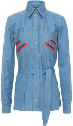 Victoria Victoria Beckham Belted Embroidered Denim Shirt