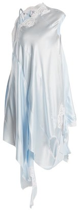 Vetements Deconstructed Silk-satin Slip Dress - Light Blue