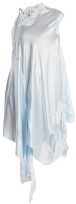 Vetements Deconstructed Silk-satin Slip Dress - Womens - Light Blue