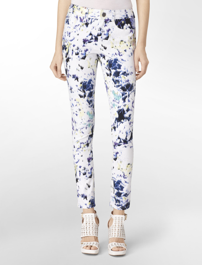 Calvin Klein Abstract Paint Print Skinny Jeans