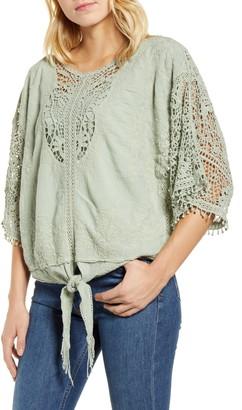 Wit & Wisdom Crochet Tie Waist Cotton Top