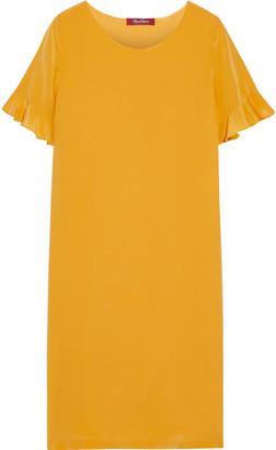 Max Mara Cloro Ruffle-trimmed Silk Crepe De Chine Dress