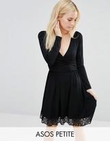 Asos Wrap Dress with Lace Hem