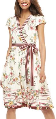 Gal Meets Glam Women's Casual Dresses CREAM/PINK - Cream & Pink Floral Stripe Tie-Waist Teresa Surplice Dress - Women & Juniors