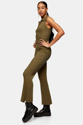 Topshop Womens Khaki Button Flared Knitted Trousers - Khaki