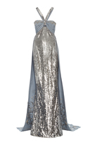 Elizabeth Kennedy Empire Waist Gown With Cape And Embroidery Detail