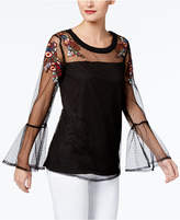 NY Collection Embroidered Illusion Top