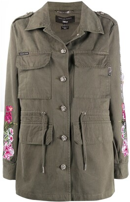 Philipp Plein Floral-Embroidered Parka Coat