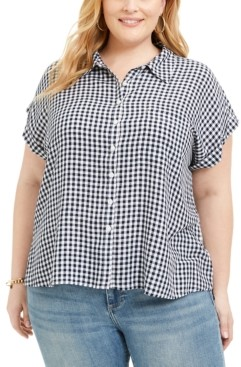 Style&Co. Style & Co Plus Size Gingham Camp Shirt, Created for Macy's