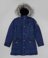 Hawke & Co Midnight Long Hooded Puffer Coat - Girls