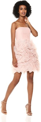Halston Women's Strapless Dramatic Ruffle Skirt Dress