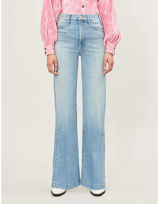 Mother The Hustler side-split high-rise wide jeans