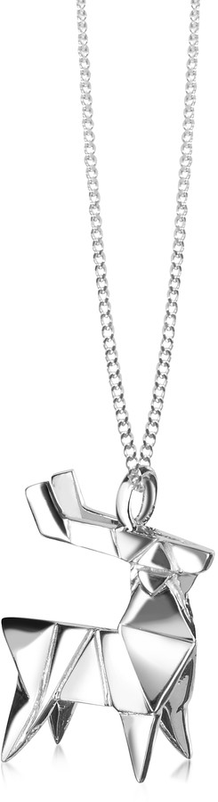 Origami Sterling Silver Deer Pendant Necklace