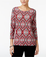 JM Collection Printed Jacquard Top Only at Macy's