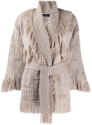 Alanui Fringed Knitted Cardigan