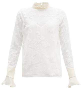 See by Chloe Floral-embroidered High-neck Mesh Blouse - Womens - Ivory