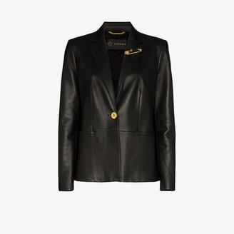 Versace Safety Pin Leather Blazer