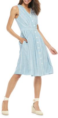 Gal Meets Glam Striped Button-Up Sleeveless A-Line Dress