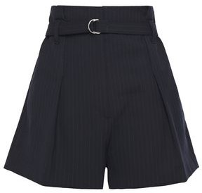 3.1 Phillip Lim Belted Pleated Pinstriped Woven Shorts