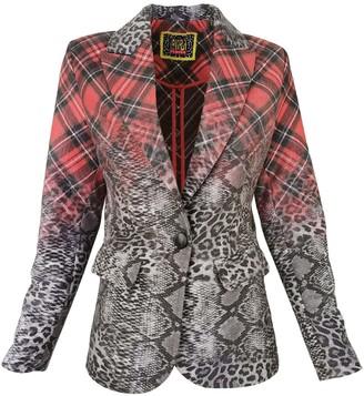 Lalipop Design Unlined Blazer Jacket With Leopard & Tartan Print